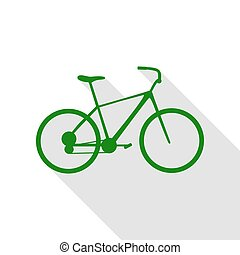 Bicycle, Bike sign. Green icon with flat style shadow path.