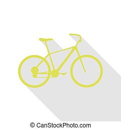 Bicycle, Bike sign. Pear icon with flat style shadow path.