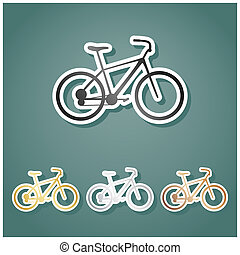 Bicycle, Bike sign. Set of metallic Icons with gray, gold, silver and bronze gradient with white contour and shadow at viridan background. Illustration.