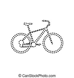 Bicycle, Bike sign. Vector. Black dashed icon on white background. Isolated.