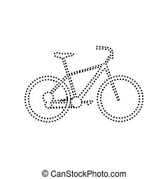 Bicycle, Bike sign. Vector. Black dotted icon on white background. Isolated.