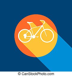 Bicycle, Bike sign. Vector. White icon on tangelo circle with infinite shadow of light at cool black background. Selective yellow and bright navy blue are produced.