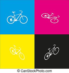 Bicycle, Bike sign. Vector. White icon with isometric projections on cyan, magenta, yellow and black backgrounds.