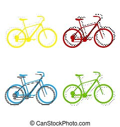 Bicycle, Bike sign. Vector. Yellow, red, blue, green icons with