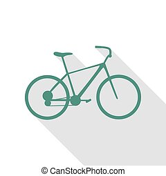 Bicycle, Bike sign. Veridian icon with flat style shadow path.