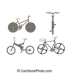 Bicycle bike vector set illustration cycle family transport vintage sport old ride design wheel retro
