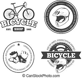 Bicycle, bike vintage vector labels, emblems, logos, badges