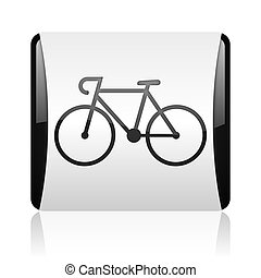 bicycle black and white square web glossy icon