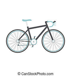 bicycle - black road bike with blue seat isolated on white...