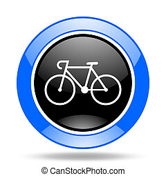 bicycle blue and black web glossy round icon