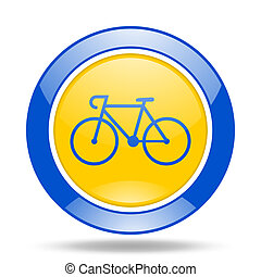 bicycle blue and yellow web glossy round icon