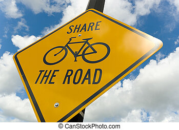 Bicycle caution sign - wide ange view of bicycle caution...