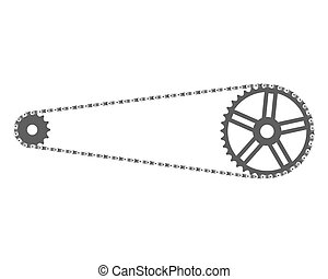 Bicycle Chain And Sprockets - Bicycle chain and front and...