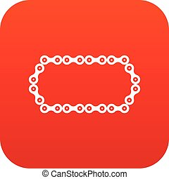 Bicycle chain icon digital red