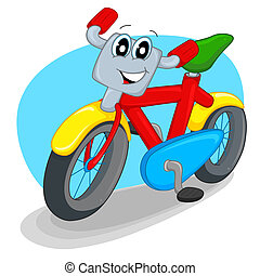 bicycle - cheerful and bright, colorful two-wheeled bike...