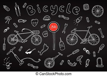 Bicycle collection in doodle style. Hand drawn
