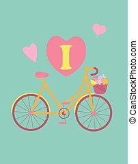 Bicycle concept vintage colour poster.
