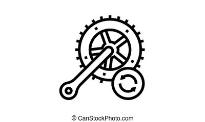 bicycle connecting rods replacement animated black icon. bicycle connecting rods replacement sign. isolated on white background