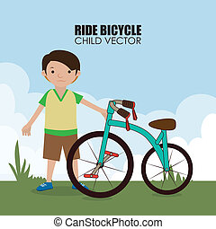 Bicycle design over landscape background, vector illustration
