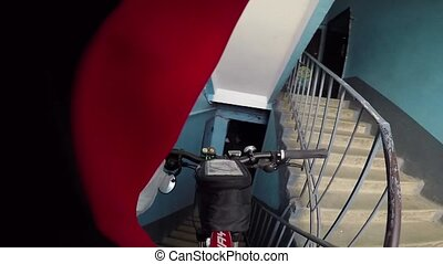 Bicycle down the stairs First-person view. POV video.