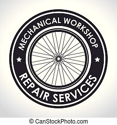 bicycle emblem to mechanical shop repair