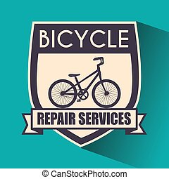 bicycle emblem with repair service sport