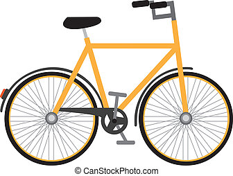 bicycle - yellow bicycle isolated over white background....