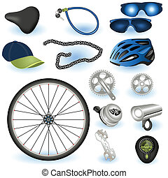 Bicycle equipment - A collection of bicycle equipment color...