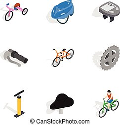 Bicycle equipment icons set, isometric 3d style