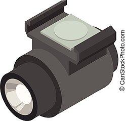 Bicycle flashlight icon, isometric style