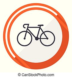 Bicycle flat design vector web icon. Round orange internet button isolated on white background.