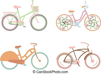 Bicycle for girls with a basket retro design vector.