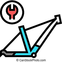 bicycle frame repair color icon vector illustration