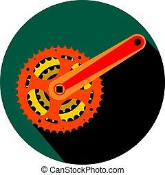 Bicycle gear, metal cogwheel flat design icon