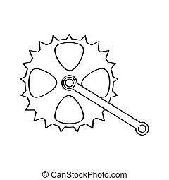 Isolated bicycle gear sketch. Vector illustratin design
