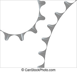 Teeth on a bicycle cog isolated over a white background