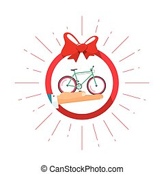 Bicycle gift prize vector badge icon, happy delivery service present