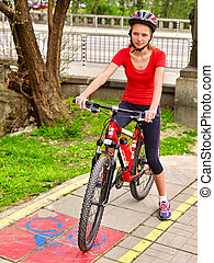 Bicycle girl wearing helmet and glass ciclyng . - Bicycle ...