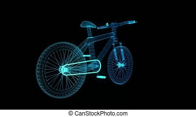Bicycle. Glowing blue light particles point and line of...