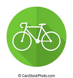 bicycle green flat icon bike sign