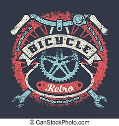 Bicycle grunge vintage poster with parts and ribbon