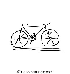 Bicycle handdrawn sketch isolated on white, black doodle bike drawing
