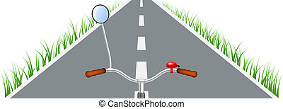 Bicycle handlebar, road and grass on white background