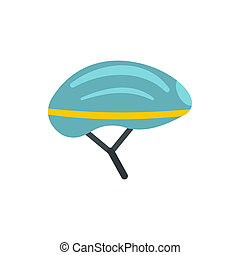 Bicycle helmet icon, flat style