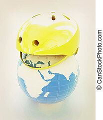Bicycle helmet on earth. The concept of healthy life and sport. Global. 3D illustration. Vintage style.