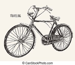 Bicycle High Detail Traveling Engraving Vintage
