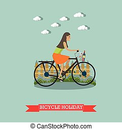 Bicycle holiday concept vector illustration in flat style.