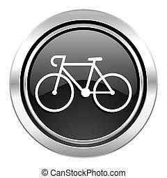 bicycle icon, black chrome button, bike sign