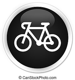 Bicycle icon black glossy round button