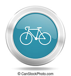 bicycle icon, blue round glossy metallic button, web and mobile app design illustration